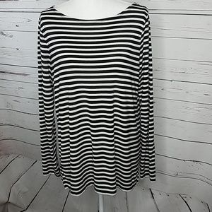 Gap Luxe Black & White Striped Boatneck Tunic Top